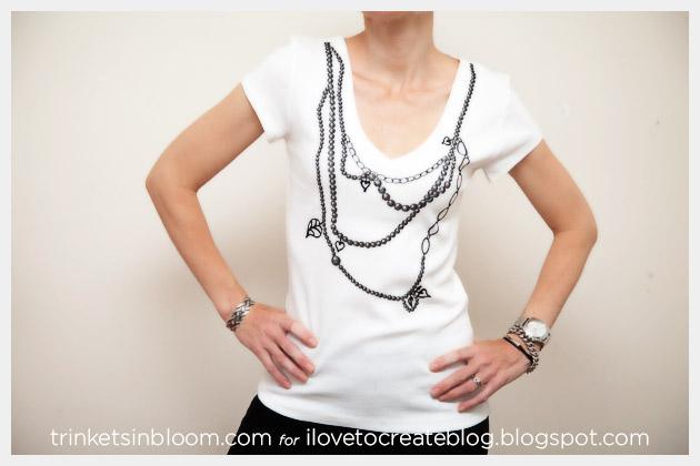 Trompe L'Oeil Necklace T-Shirt DIY Cropped Photo