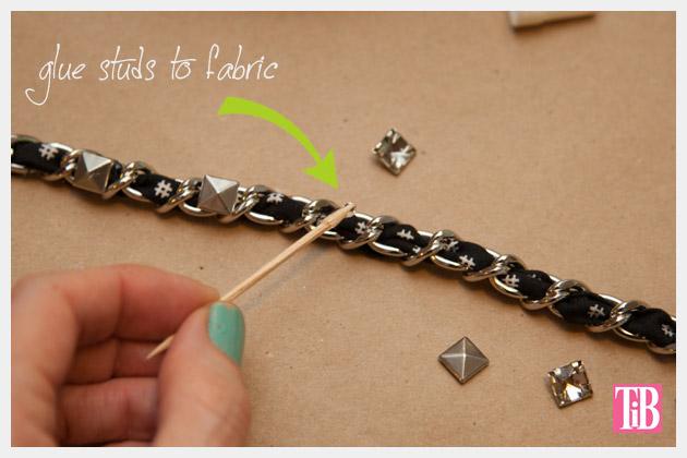 Dear Stella Fabrics DIY Woven Chain Bracelet Gluing Studs
