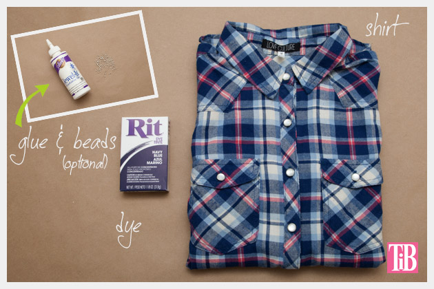Dip Dye Plaid Shirt Supplies