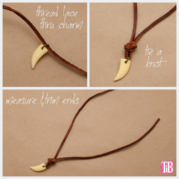 Gold Cord and Leather Necklace DIY Charm