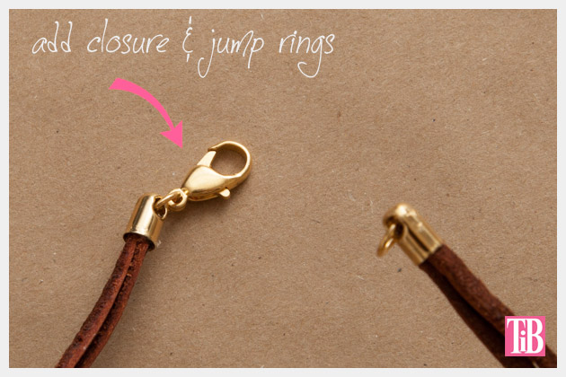 Gold Cord and Leather Necklace DIY Closure