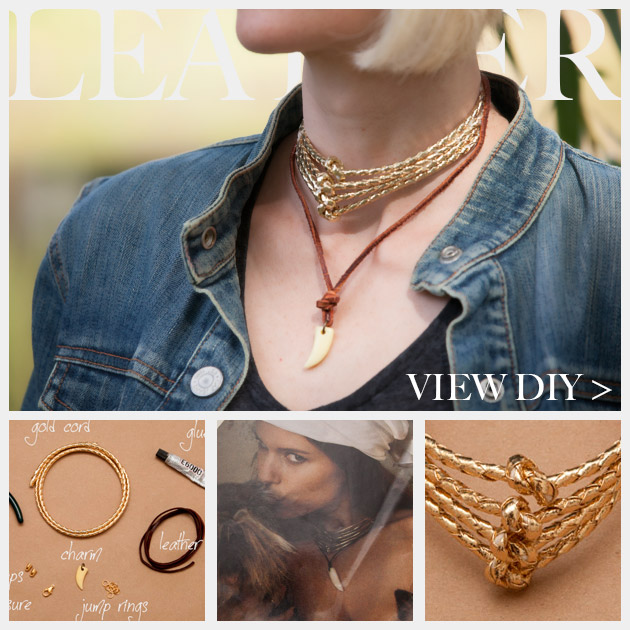 Gold Cord and Leather Necklace DIY www.trinketsinbloom.com