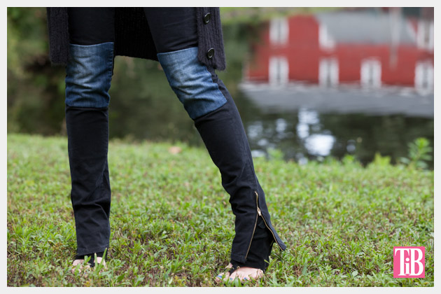 DIY Patched Skinny Jeans with Zippers Close Up