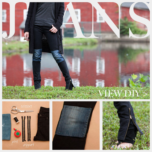 DIY Patched Skinny Jeans with Zippers www.trinketsinbloom.com