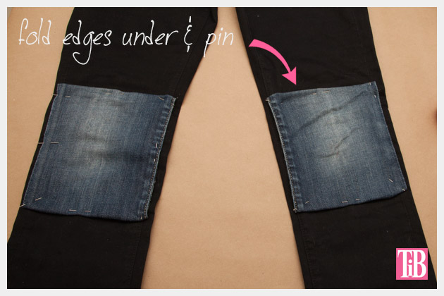 DIY Patched Skinny Jeans with Zippers Pinning Patches