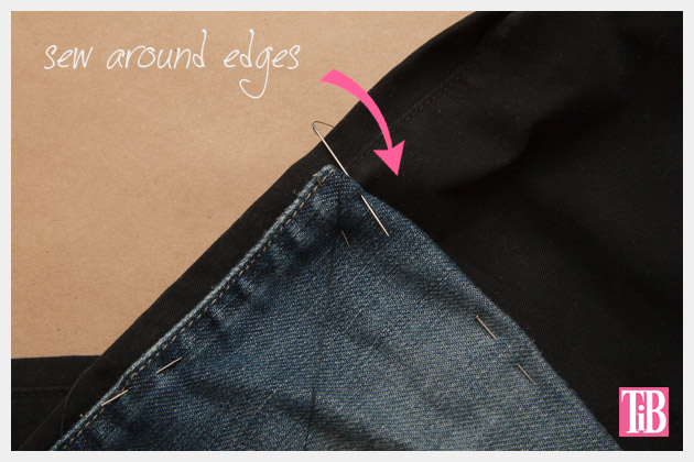 DIY Patched Skinny Jeans with Zippers Sewing Patches