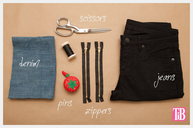 DIY Patched Skinny Jeans with Zippers Supplies