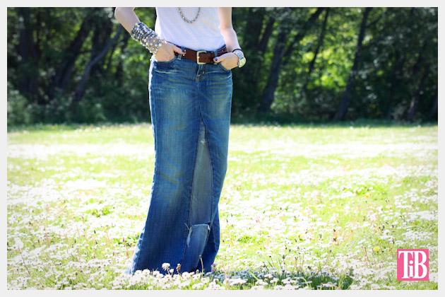 Fall Denim Review Recycled Denim Maxi Skirt DIY