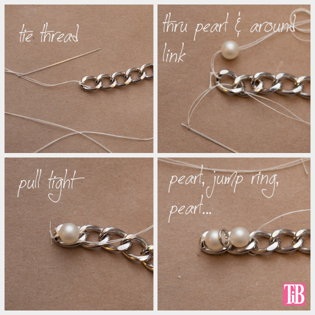 YSL Inspired Charm Bracelet DIY Sewing Pearls