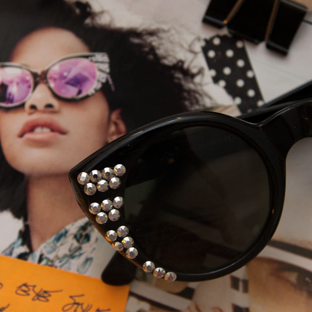 Black Rhinestone Sunglasses DIY