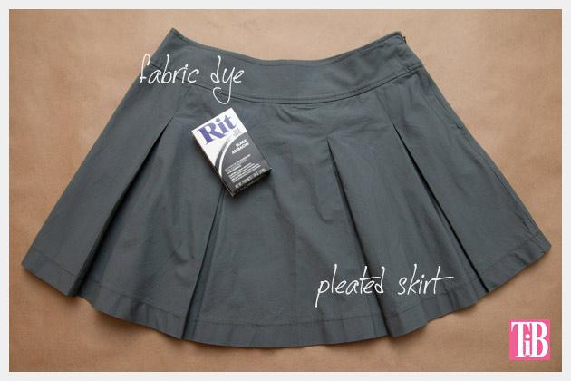 Dip Dye Pleated Skirt DIY Supplies