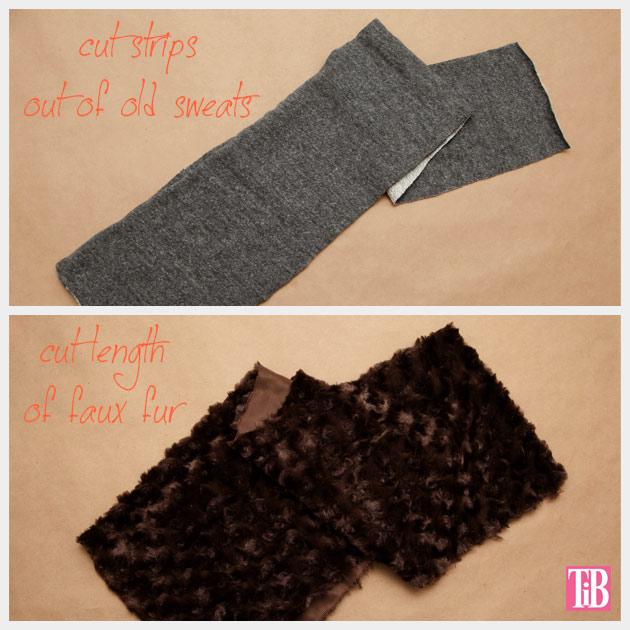 DIY Faux Fur Scarf Cutting Fabric