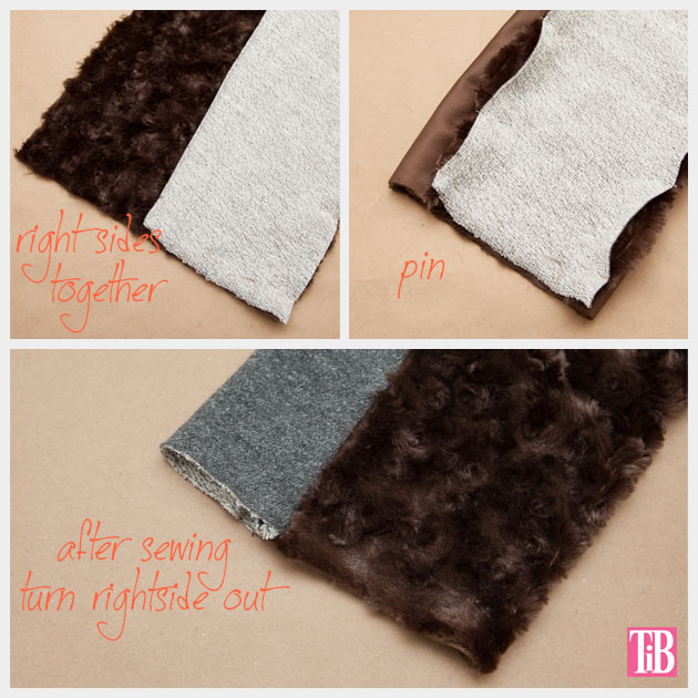 DIY Faux Fur Scarf Pinning and Sewing