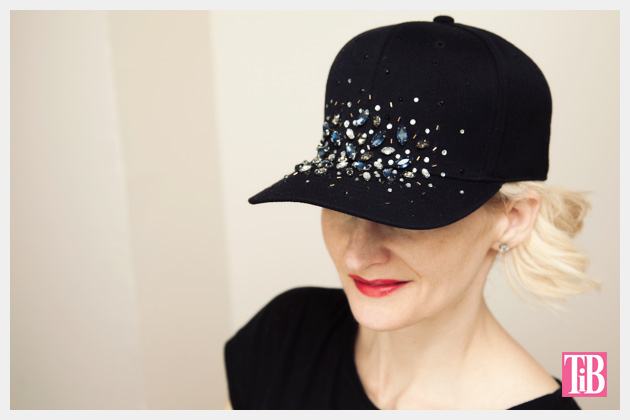 DIY Rhinestone Baseball Cap Photo by www.trinketsinbloom.com