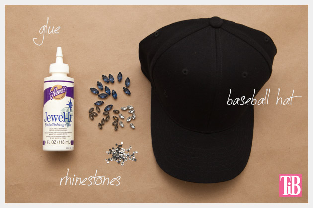 DIY Rhinestone Baseball Cap Supplies