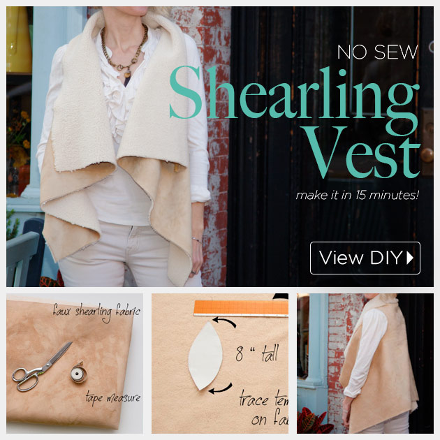 No Sew DIY Shearling Vest by Trinkets in Bloom