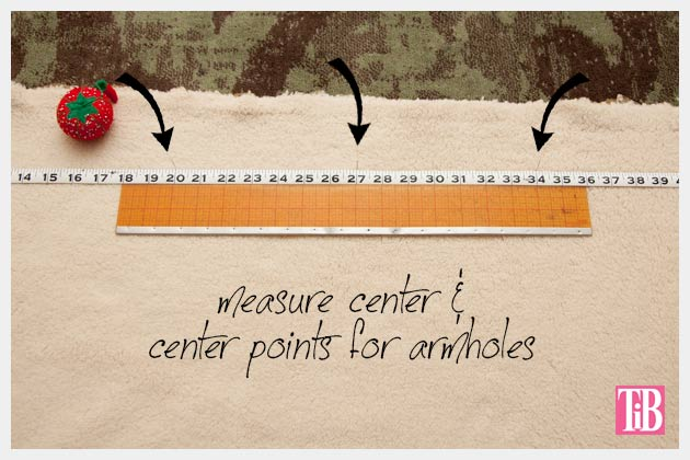 DIY Shearling Vest Measuring for center back and armholes