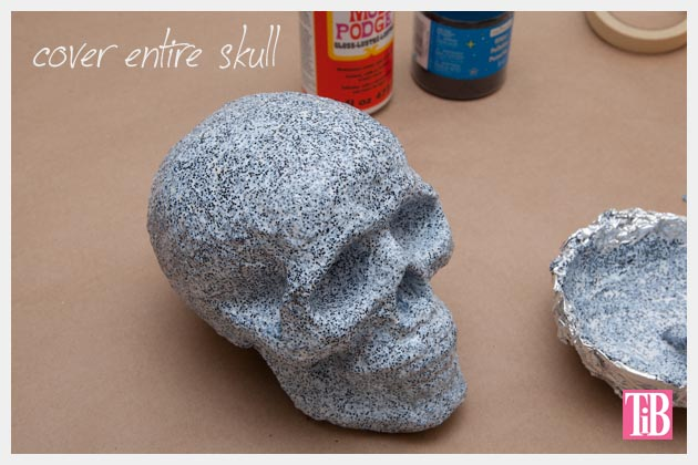 Halloween Glitter Skull DIY Covered and Let Dry