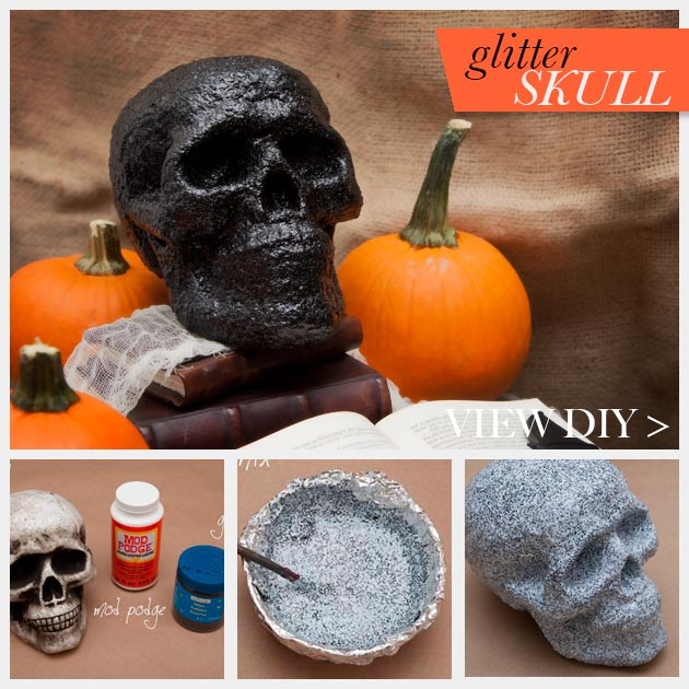 Halloween Glitter Skull DIY www.trinketsinbloom.com