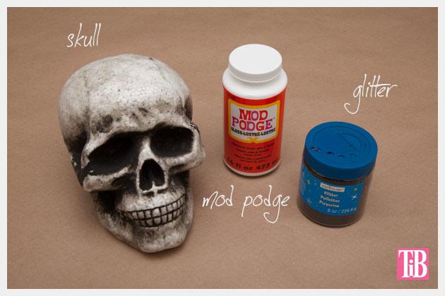 Halloween Glitter Skull DIY Supplies