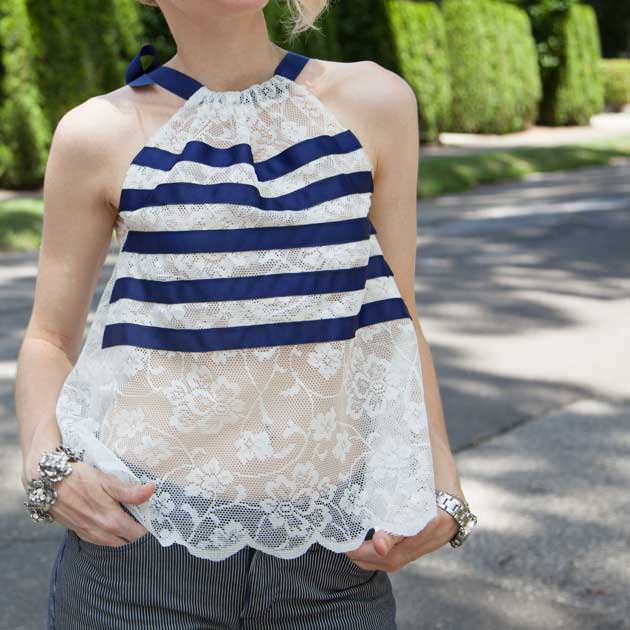 Lace Tank with Ribbon Stripes DIY