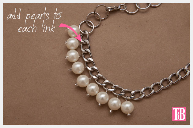 Large Chain and Pearl Necklace DIY Assembling the Necklace