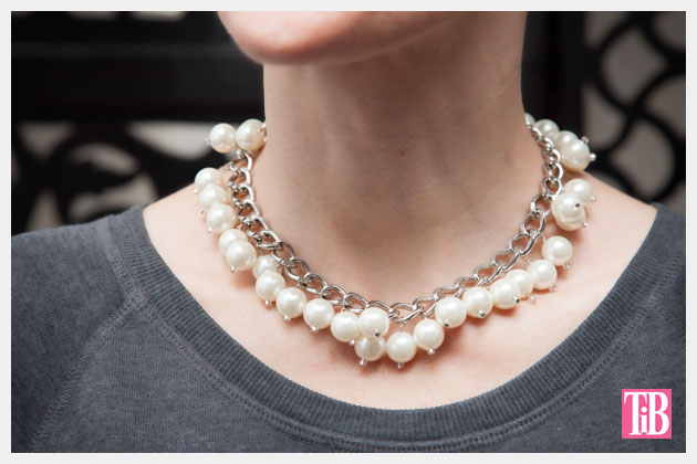 Large Chain and Pearl Necklace DIY Close Up