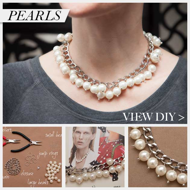 Large Chain and Pearl Necklace DIY www.trinketsinbloom.com