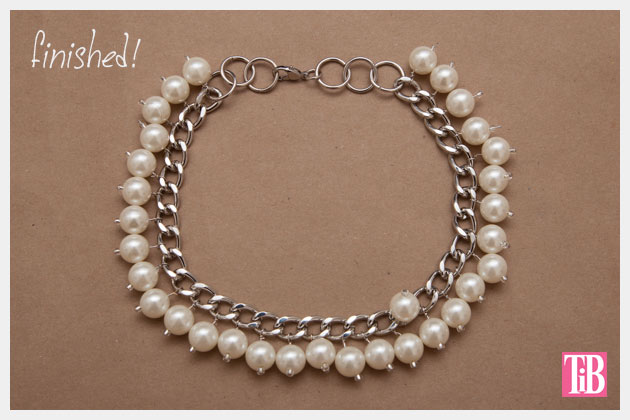 Large Chain and Pearl Necklace DIY Finished