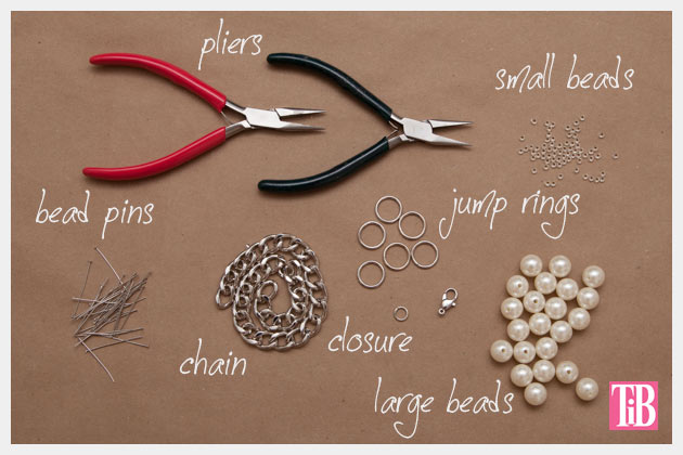 Large Chain and Pearl Necklace DIY Supplies