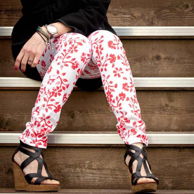 Printed Floral Jeans DIY