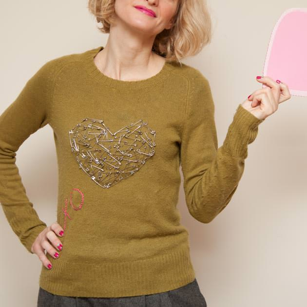 Safety Pin Heart Sweater DIY