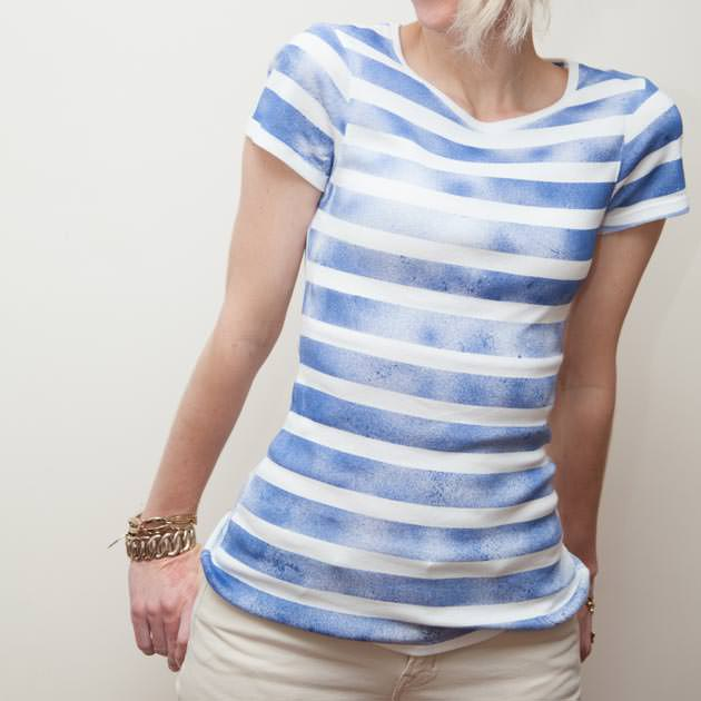 Striped T Shirt with Spray Paint DIY