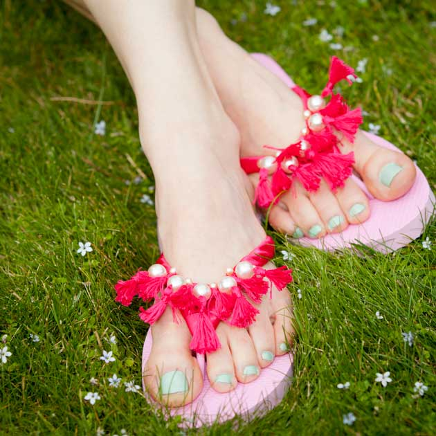 Tassel Beaded Flip Flops DIY