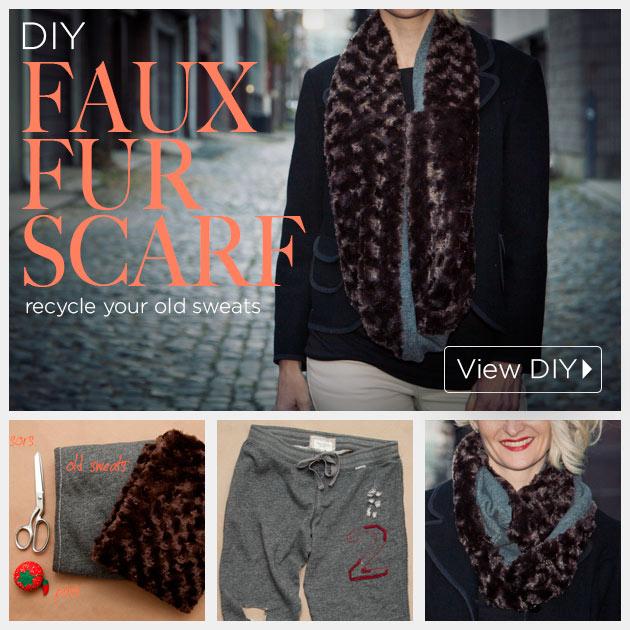 DIY Faux Fur Scarf by www.trinketsinbloom.com