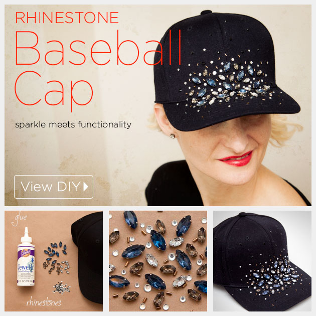 DIY Rhinestone Baseball Cap Tutorial by www.trinketsinbloom.com