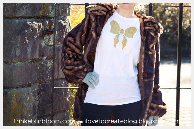 Holiday Gold Bow T-Shirt DIY Photo