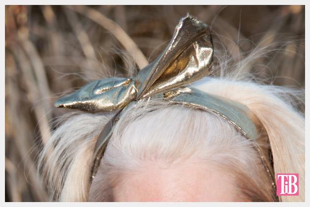 DIY Gold Hair Tie Close Up