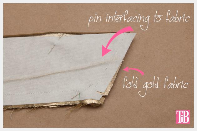 DIY Gold Hair Tie Pinning Fabric