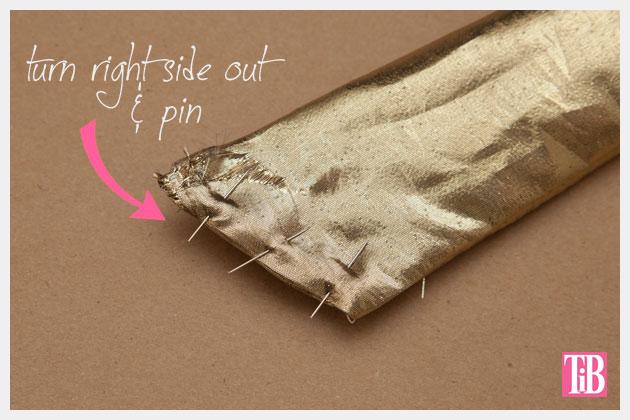 DIY Gold Hair Tie Pinning End