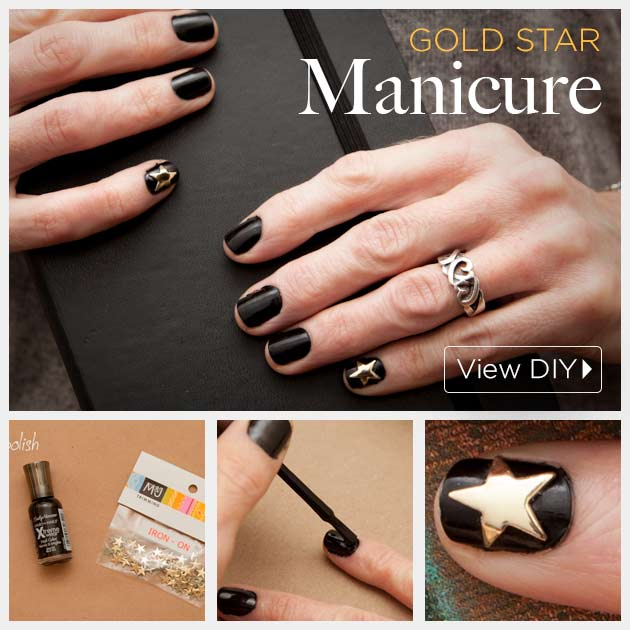 Gold Star Manicure DIY by Trinkets in Bloom