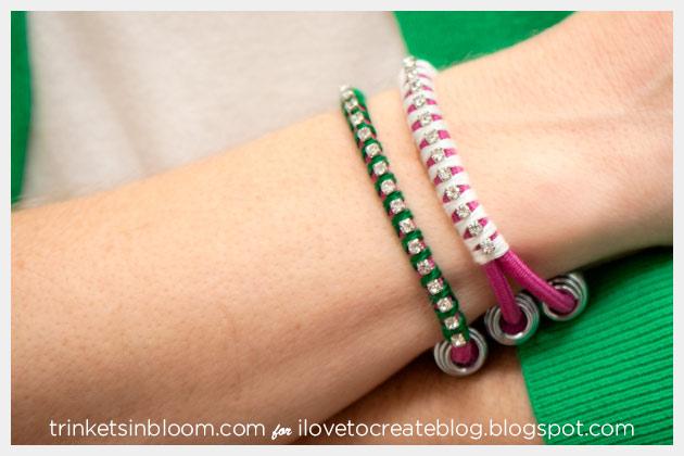 Rhinestone Bungee Bracelet DIY Side View
