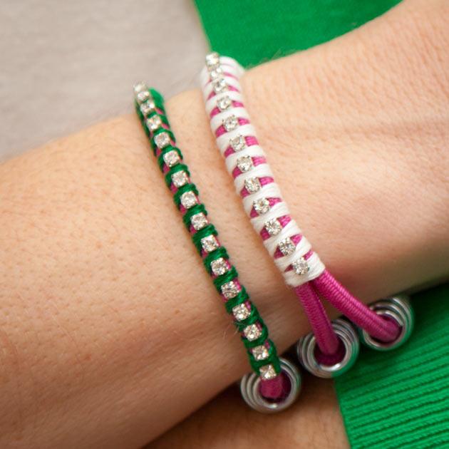 Rhinestone Bungee Bracelet DIY