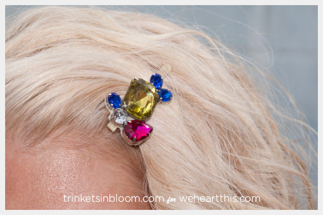 Rhinestone Hair Pin DIY Close Up by Trinkets in Bloom