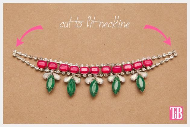 DIY Rhinestone Swing Dress Cutting Necklace