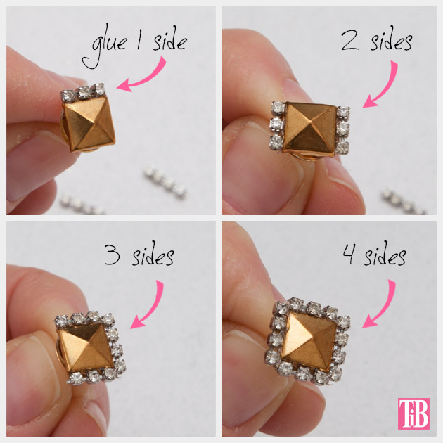 Stud and Rhinestone Earrings DIY Adding Rhinestones