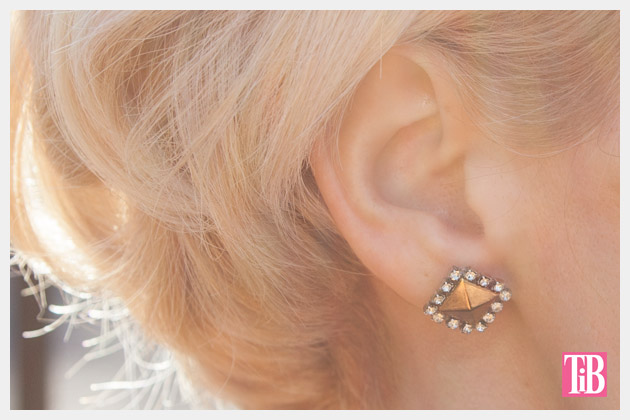 Stud and Rhinestone Earrings DIY Close Up