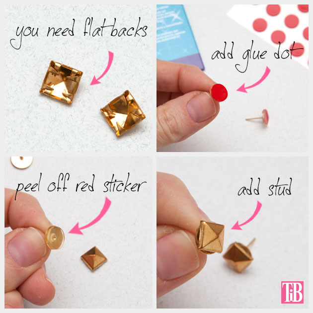 Stud and Rhinestone Earrings DIY adding the Studs