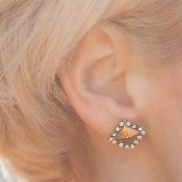 Stud and Rhinestone Earrings DIY