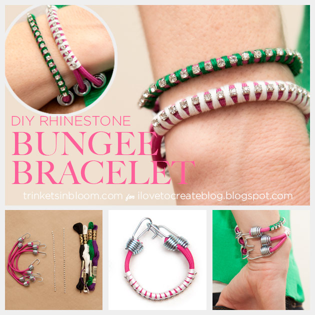 Rhinestone Bungee Bracelet DIY by Trinkets in Bloom